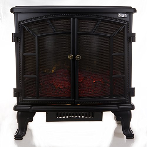 Della 1500W Retro-Style Floor Freestanding Vintage Electric Stove Heater Fireplace w/ Remote (Wall Mount Electric Room Heater compare prices)