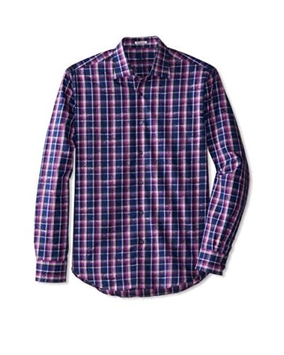 BUGATCHI Men's Floral Check Shirt