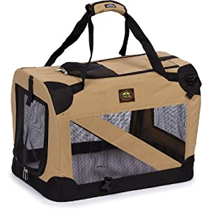 Pet Life Folding Zippered 360 Vista View House Carrier in Khaki, X-Small