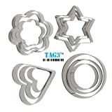 Tag3 Stainless Steel Cookie Cutter With 4 Shapes - 12 Pieces - LOOKOUT FOR TAG3 CODE FOR AUTHENTIC PRODUCT