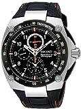 Mens Stainless Steel Seiko Sportura Alarm Chronograph Black Dial SNAD59 thumbnail