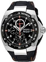Mens Stainless Steel Seiko Sportura Alarm Chronograph Black Dial SNAD59