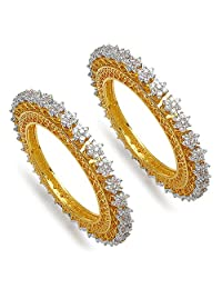 128.80 Grams White Cubic Zirconia Gold Plated Brass Bangles