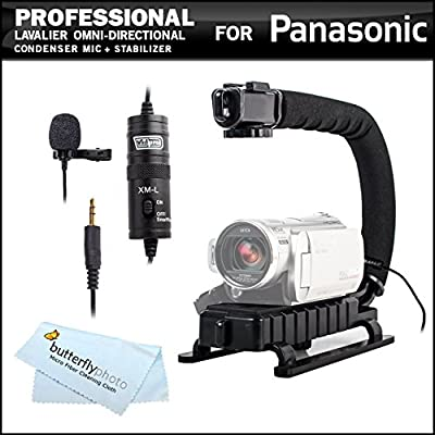 Professional Lavalier (lapel) Omni-directional Condenser Microphone - 20' Audio Cable + Video Stabilizer Kit For Panasonic HC-V750, HC-V750K, HC-V720, HC-V720, HC-V720K, HC-X920, HC-X920K, HC-X900M, HC-X900MK, HC-W850, HC-W850K Digital HD Camcorder
