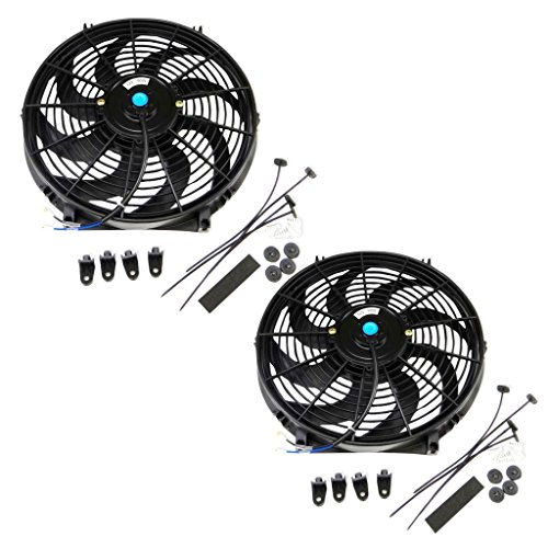 Set of 2 Universal 14 inch 12 Volt Slim Fan Push Pull Electric Radiator Cooling Mount Kit (14 Inch Electric Radiator Fan compare prices)