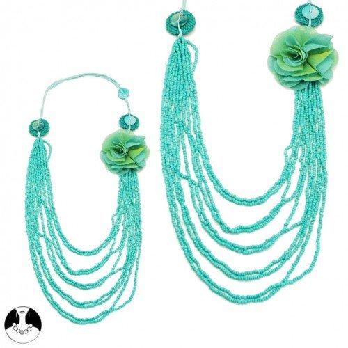 sg paris women necklace long necklace 8 rows 70/105cm comb aqua glass