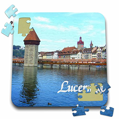 InspirationzStore Photography - Lucerne - town in Switzerland - medieval style stone tower bridge over Swiss lake - historic city - 10x10 Inch Puzzle (pzl_155659_2)