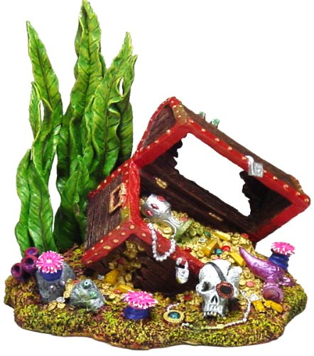 Exotic Environments Sunken Treasure Chest Aquarium Ornaments, Large, 7-1/2-Inch by 5-1/2-Inch by 7-Inch
