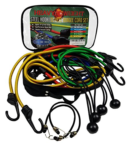15 Piece Bungee Cord Set in Weatherproof Bag - Weather Resistant for Cargo, Camping, RVs, Trunks, Luggage Racks - Elastic Shock Cord, Ball Bungees, Tarp Tie Downs (Pice Rack compare prices)