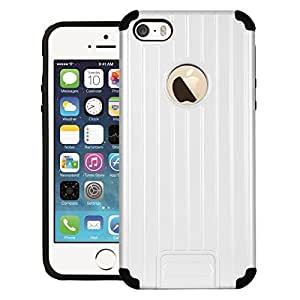 CUBIX® iPhone SE Case, [Dual Layer] [Shockproof] Armor Hybrid Defender Anti-Drop Rugged Protective Bumper Case For Apple iPhone SE (White)