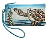 Sea Turtle Hand Painted Leather Wristlet Purse