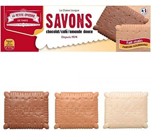 Savons Petit Beurre Boîte de 3 Parfums chocolat, café et amande douce La petite épicerie de Paris 34-2S-803