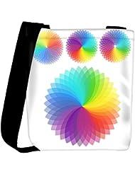 Snoogg Set Of Rainbow Flowers Womens Carry Around Cross Body Tote Handbag Sling Bags