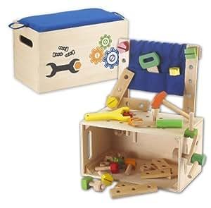 Kids Toy - Établi en bois - Caisse d'outils - Outils en bois