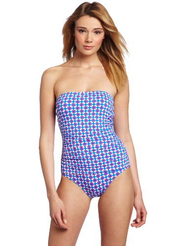 Echo Design Women's Vintage Geo Ruched One Piece, Royal, 12