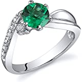 Revoni Ethereal Curves 0.75 carats Emerald Ring in Sterling Silver Rhodium Finish