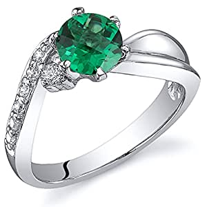 Revoni Ethereal Curves 0.75 carats Emerald Ring in Sterling Silver Rhodium Finish Available Sizes J to R