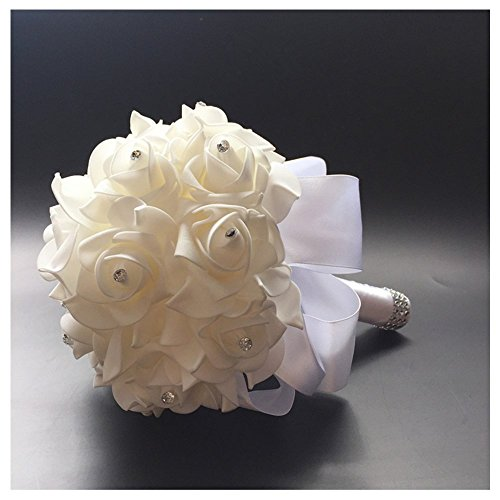 StillCool Still Pure-white Crystal Pearl Silk Roses Bridal Bridesmaid Wedding Bouquet (18cm*24cm, Royal-blue)