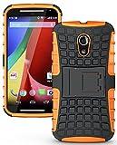 Heartly Flip Kick Stand Spider Hard Dual Armor Hybrid Bumper Back Case Cover For Motorola Moto G2 G 2nd Generation - Mobile Orange