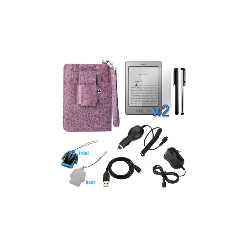 Evecase® Crocodile Purple Leather Case with LED Light + 2x Clear LCD Screen Protetor + Car Charger + Home Wall AC Charger + 2 Stylus Pen(Black / Silver) + Sync USB Data Cable + LCD PVC Mobile Cleaner for  Kindle Touch / Touch 3G, Kindle Paperwhite /