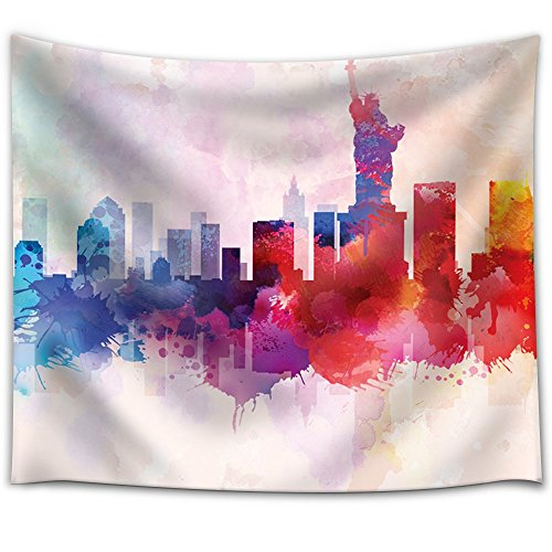 Wall26 - Colorful Rainbow Splattered Paint on the City of New York with the Statue of Liberty - Fabric Tapestry, Home Decor - 51x60 inches (Paint New York compare prices)