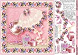 Girly Time with Lace Parasol 8in x 8in Decoupage by Sue Douglas