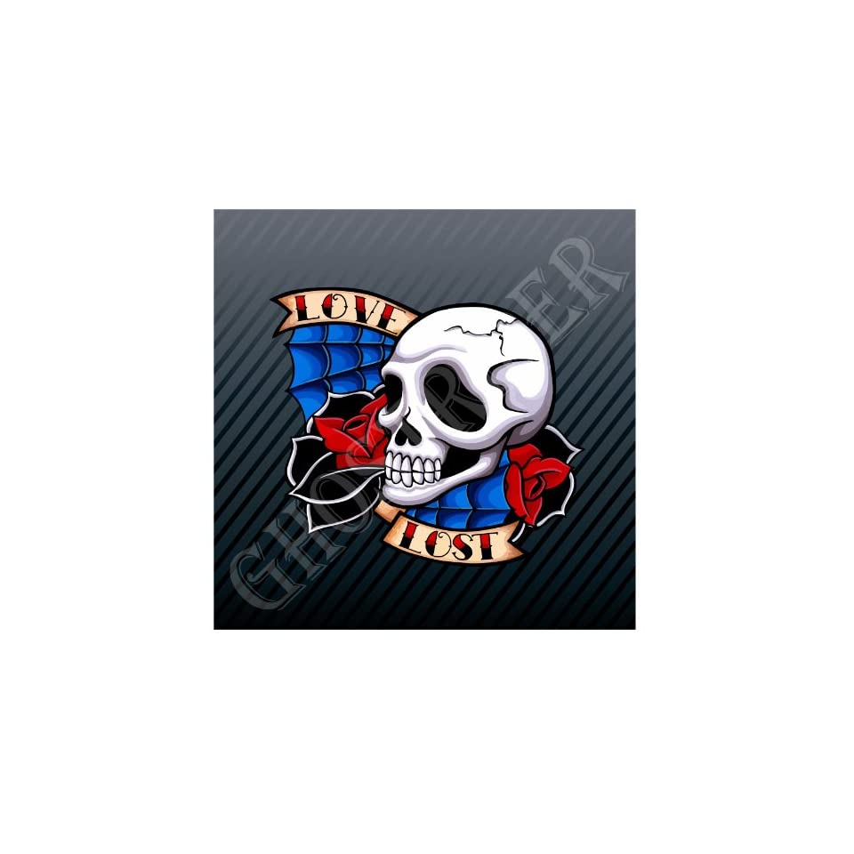 Lost Love Skull Roses Car Trucks Sticker Decal Everything