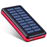 Antun Portable Charger 22400mAh Solar Power Bank Dual USB Battery Charger Travel External Battery Pack Outdoor Solar Panel with LED Flashlight (Rose Red)