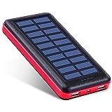 Antun 超大容量22400mAh モバイルバッテリー ソーラーチャージャー ソーラー充電器 ソーラーバッテリー 2USB出力ポート おしゃれなデザイン LED付き 地震・災害時の必要品 旅行 出張 キャンプなどに最適 (レッド)