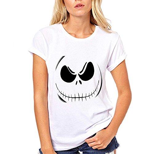 [GullPrint Women's Halloween Jack Skellington Face T Shirt X-Large White] (Witch Coustumes)