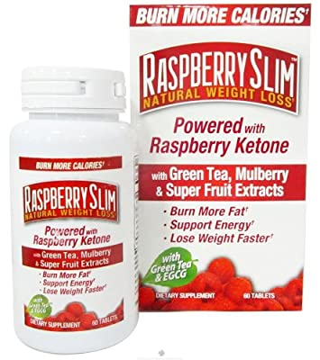 Raspberry Slim Natural Weight Loss Tablets 60 Tablets with Green Tea, Mulberry and Super Fruit Extracts
