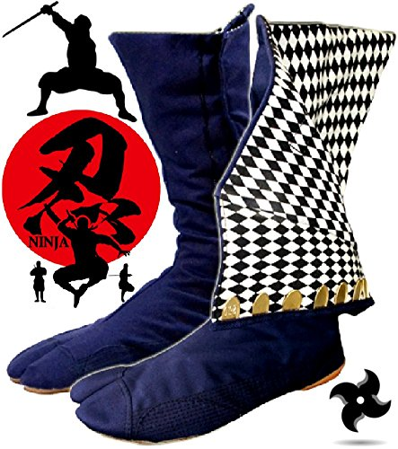 SPJ: JIKATABI Ninja High Top Tabi Boots Outdoor Split Toe Shoes Navy Blue Checkered Pattern (9 US Men / 27 cm JP) (Ninja Turtle Real Weapons compare prices)