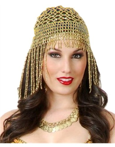 Gold Beaded Harem Girl Cleopatra Egyptian Costume Headpiece