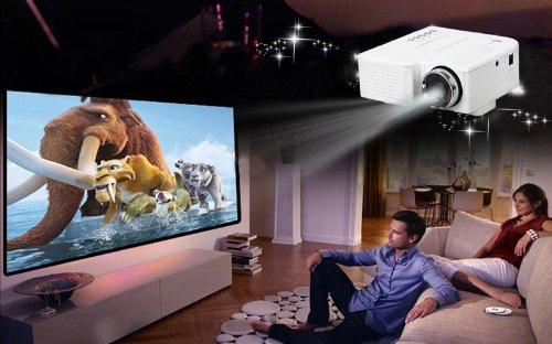Aome Tech Led Projector Cinema Vga/Usb/Sd/Av Hdmi Input White