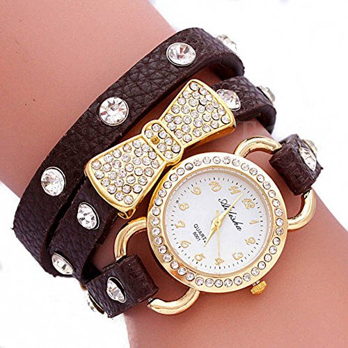 Shot-In Women Retro Crystal Wrap Around Leather Strap Quartz Bracelet Chain Wrist Watch (Coffee)