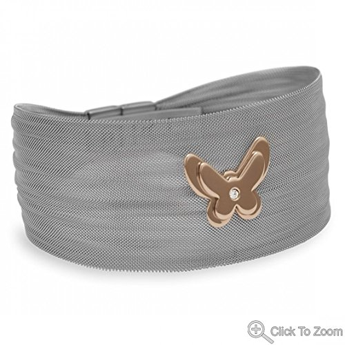 Adorable Stainless Steel Mesh Bracelet With 14 Karat Rose Gold Plated Butterfly
