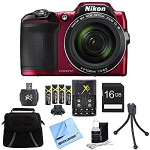 Nikon COOLPIX L840 16MP 38x Opt Zoom Digital Camera 16GB Accessory Bundle - Red