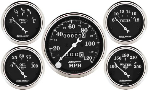 Autometer 1708 Old Tyme Black Series W Kit Box Speedometers