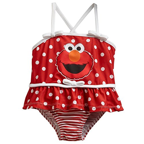 Sesame Street Elmo One Piece Swimsuit Bathing Suit Infant 12 Months Red