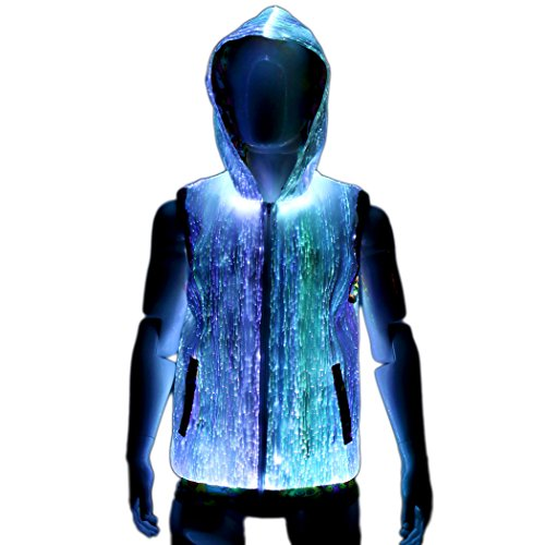 Cool Sleeveless Light Up Hoodie for Men Fiber Optic Festival Clothing XL size