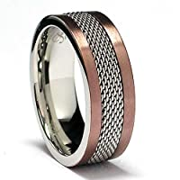 8MM Chocolate Stainless Steel Ring with Mesh Inlay Sizes 8 to 12