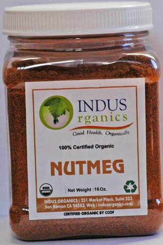 Indus Organic Nutmeg Powder Spice 1 Lb Jar, Freshly Packed