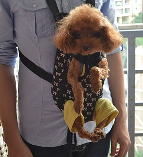 Greenery Fashion Bowknot Pattern Breathable Comfy Cotton Pet Puppy Dog Cat Small Animals Outdoor Travel Carrier Backpack Front Chest Bag Shoulder Handbag Holder
