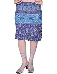 Exotic India Navy-Blue Sanganeri Wrap-Around Mini-Skirt With Printed Flow - Blue