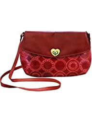 Arpera Embossed Genuine Leather Sling Bag Red C11517-3