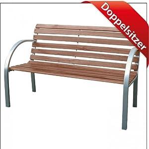 gartenbank 122cm 2sitzer holz metall parkbank sitzbank holzbank bank. Black Bedroom Furniture Sets. Home Design Ideas