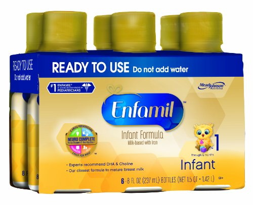 Enfamil Infant Formula Milk-Based With Iron, Bottles, 8 Ounce 6 Count (Pack Of 4) (Packaging May Vary)