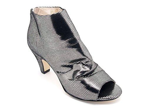 Carmens Padova tronchetti donna con punta aperta, gambale in pelle acciaio sfoderata, chiusura zip, suola di gomma (EU 37)