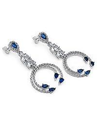 11.20 Grams Blue Cubic Zirconia & White Cubic Zirconia .925 Sterling Silver Earrings
