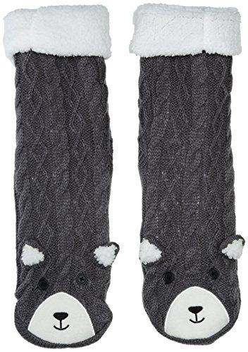 Totes Women's Chunky Novelty Slipper Socks, Grey,